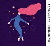 illustration sleeping girl fly... | Shutterstock .eps vector #1389978731
