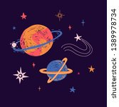 space elements in cute doodle... | Shutterstock .eps vector #1389978734