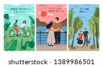 Collection of cards with cute romantic couples on date riding tandem bicycle, watching sunset, walking. Set of postcards with young man and woman in love. Flat cartoon colorful vector illustration.