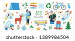 ecotourism set. collection of... | Shutterstock .eps vector #1389986504
