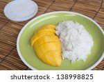Mango sticky rice. - stock photo