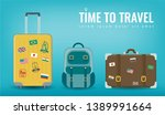travel luggage set. travel and... | Shutterstock .eps vector #1389991664