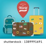 travel luggage set. travel and... | Shutterstock .eps vector #1389991691