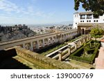 Courtyard of the acequia in Generalife, Alhambra, Granada, Andalucia, Spain - stock photo