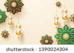 golden hanging lanterns and... | Shutterstock .eps vector #1390024304