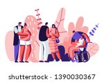 happy couples waiting baby.... | Shutterstock .eps vector #1390030367