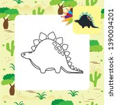 cute dino coloring page. vector ... | Shutterstock .eps vector #1390034201