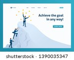 isometric to achieve success ... | Shutterstock .eps vector #1390035347
