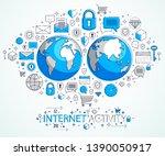 global internet connection... | Shutterstock .eps vector #1390050917