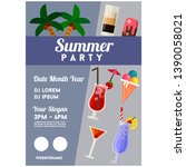 summer party poster holiday... | Shutterstock .eps vector #1390058021