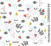 seamless doodle summer pattern. ... | Shutterstock .eps vector #1390059194