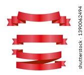 red ribbons set. vector design... | Shutterstock .eps vector #1390062494