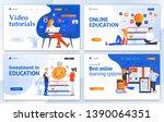 set of landing page design... | Shutterstock .eps vector #1390064351