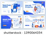 set of landing page design... | Shutterstock .eps vector #1390064354