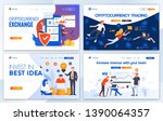 set of landing page design... | Shutterstock .eps vector #1390064357