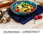 chicken penne with pesto sauce   Shutterstock . vector #1390070417
