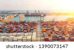 container ship in export and... | Shutterstock . vector #1390073147
