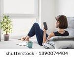 young beautiful woman resting... | Shutterstock . vector #1390074404