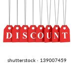 discount word on hanging red... | Shutterstock . vector #139007459