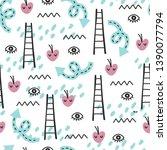 seamless doodle summer pattern. ...   Shutterstock .eps vector #1390077794