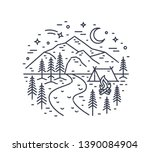 monochrome landscape with tent... | Shutterstock .eps vector #1390084904