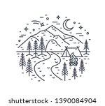 monochrome landscape with tent... | Shutterstock .eps vector #1390084904