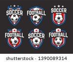 classic soccer emblems. blue ... | Shutterstock .eps vector #1390089314