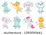 Stock vector animal baby girl cute print unicorn bunny fox wolf panda mouse cat kitten dinosaur with 1390090661