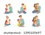 happy parents embracing their... | Shutterstock .eps vector #1390105697