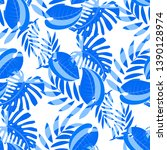seamless pattern with tropical... | Shutterstock .eps vector #1390128974