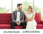 couples sitting and talking... | Shutterstock . vector #1390144544