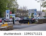Small photo of lancaster england uk april 18 2019 entrance to visitor and outpatient car park