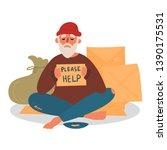 poor homeless beggar. poverty.... | Shutterstock .eps vector #1390175531