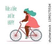 ride a bike. body positive cute ... | Shutterstock .eps vector #1390175534