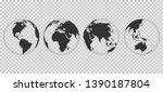 set of transparent earth globes.... | Shutterstock .eps vector #1390187804