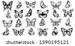 set of black filigree... | Shutterstock .eps vector #1390195121