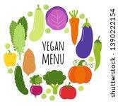 cute vegan menu frame...   Shutterstock .eps vector #1390222154