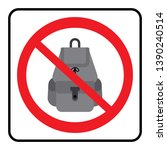 no bags icon.bags not allowed... | Shutterstock .eps vector #1390240514