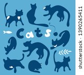 blue cats on blue background... | Shutterstock .eps vector #1390265411