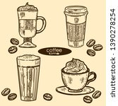 vector hand drawn vintage set... | Shutterstock .eps vector #1390278254