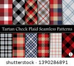Set  Tartan Plaid Scottish Seamless Pattern. Texture from tartan, plaid, tablecloths, shirts, clothes, dresses, bedding, blankets and other textile. Vol 01