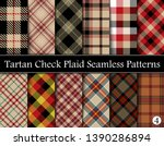 Set  Tartan Plaid Scottish Seamless Pattern. Texture from tartan, plaid, tablecloths, shirts, clothes, dresses, bedding, blankets and other textile. Vol 04