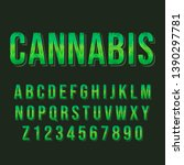 typography cannabis alphabet... | Shutterstock .eps vector #1390297781