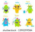 Stock vector vector isolated cute cartoon monsters 1390299584