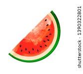 watermelon slice isolated hand... | Shutterstock .eps vector #1390322801