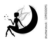 silhouette of a fairy on moon.... | Shutterstock .eps vector #139033091