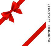 red gift ribbon and bow on... | Shutterstock .eps vector #1390370657