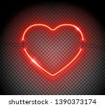 realistic neon sign of heart.... | Shutterstock .eps vector #1390373174