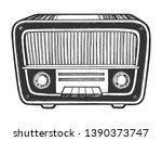 old vintage radio receiver... | Shutterstock .eps vector #1390373747