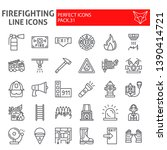 Firefighter Line Icon Set ...